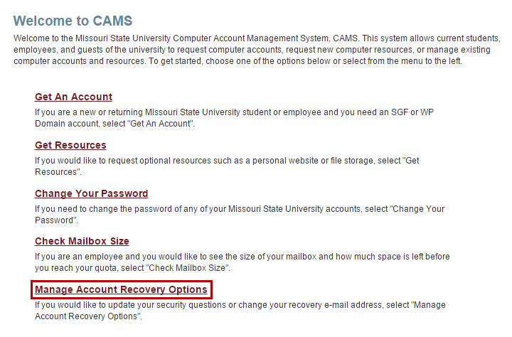 "CAMS website with ""Manage Account Recovery Options"" highlighted"