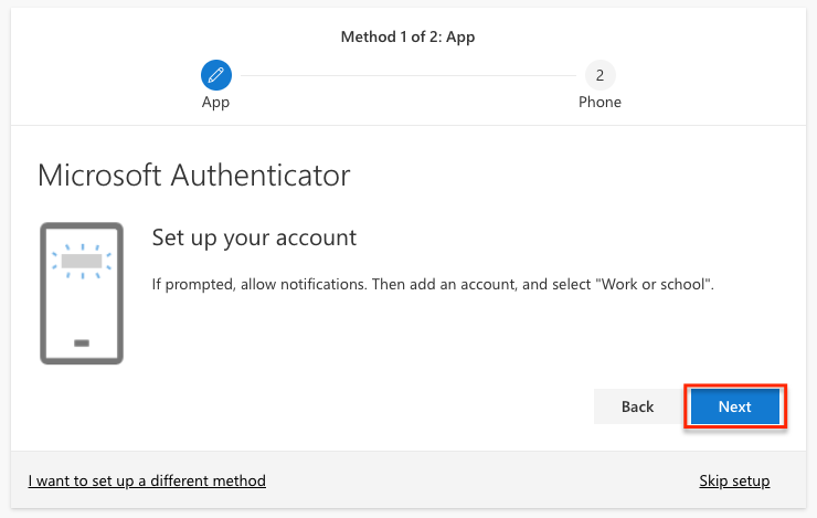 Microsoft Authenticator Set up your account prompt