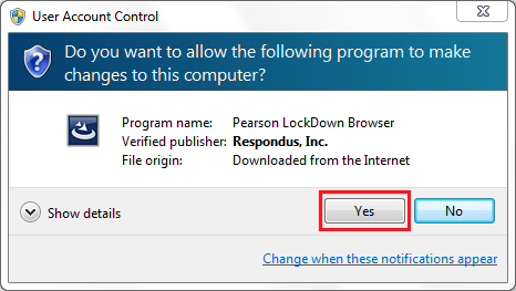Do you want to allow the following program to make changes to this computer notification