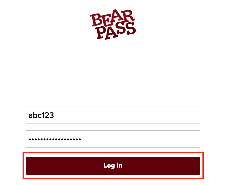 BearPass Log In Page