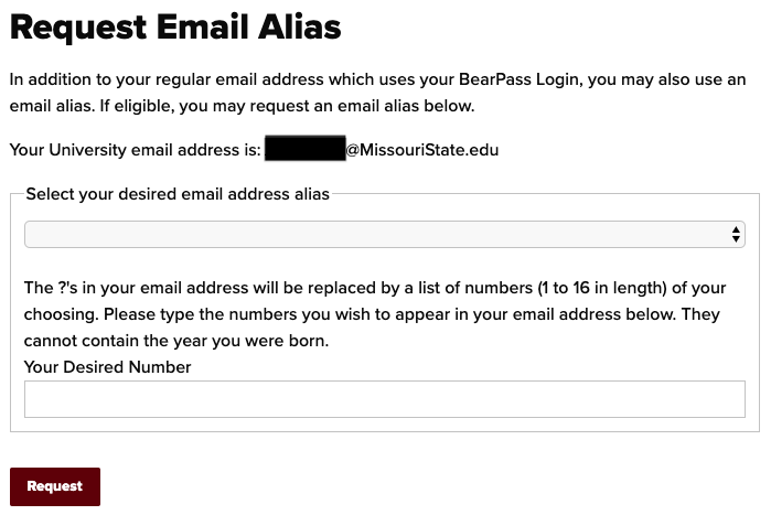 Email Alias Request Page