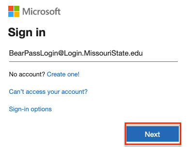 Office 365 sign in page with @login.missouristate.edu username
