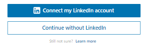 Continue without LinkedIn button