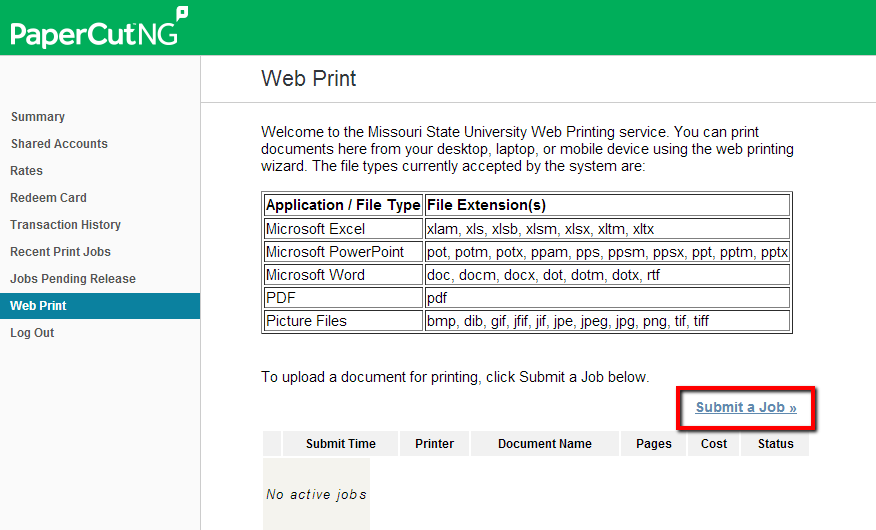 Web Print Window with Submit a Job highlighted