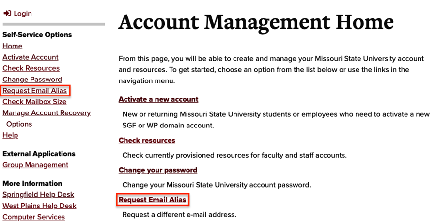 Account Management page