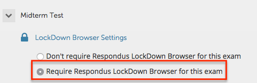 Require Respondus LockDown Browser for this exam option highlighted