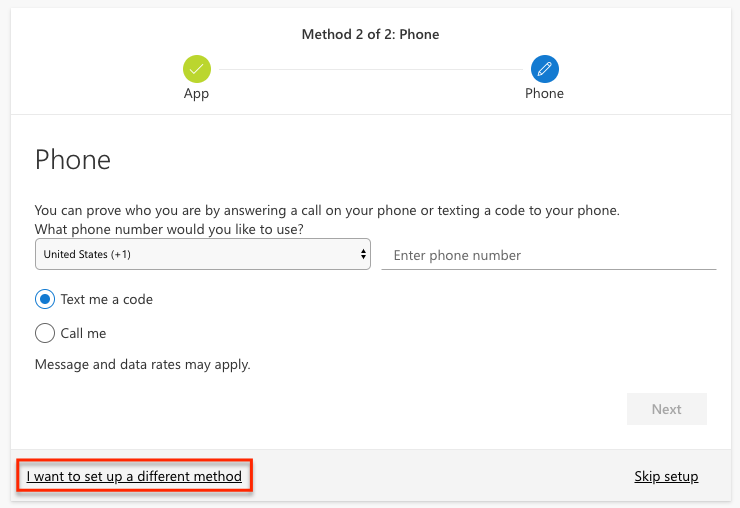 Phone setup page with the I want to setup a different method link highlighted