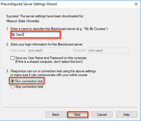 Enter a name to describe this Blackboard server text box
