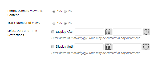 time and date restrictions