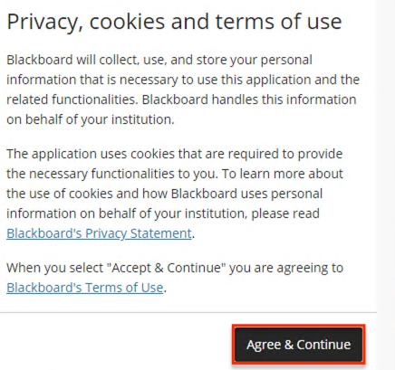 Blackboard Terms of Use pop-up