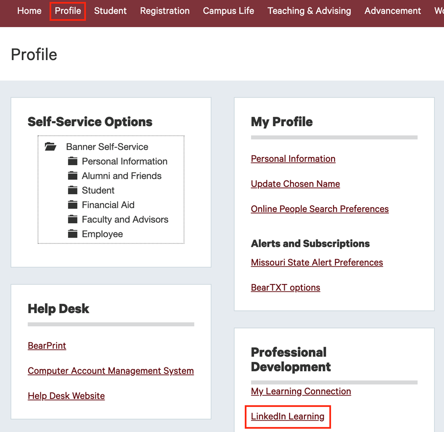 The My Missouri State Profile page showing the LinkedIn Learning link