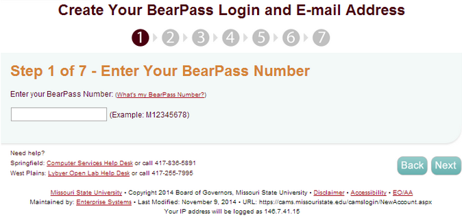 "CAMS website, displaying Bearpass Number section, with ""Next"" button highlighted."