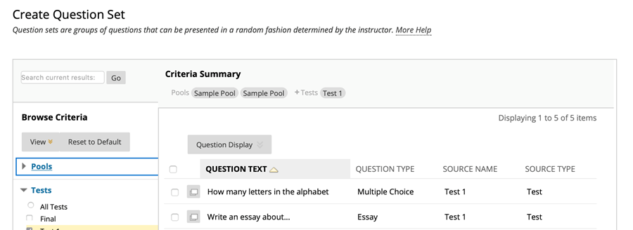 create question set page