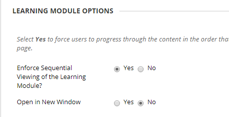 Viewing options for Learning Modules