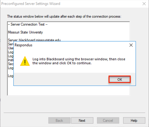Log into Blackboard using the browser window pop-up