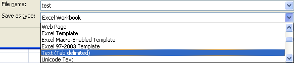 Select Tab delimited from the drop-down menu.