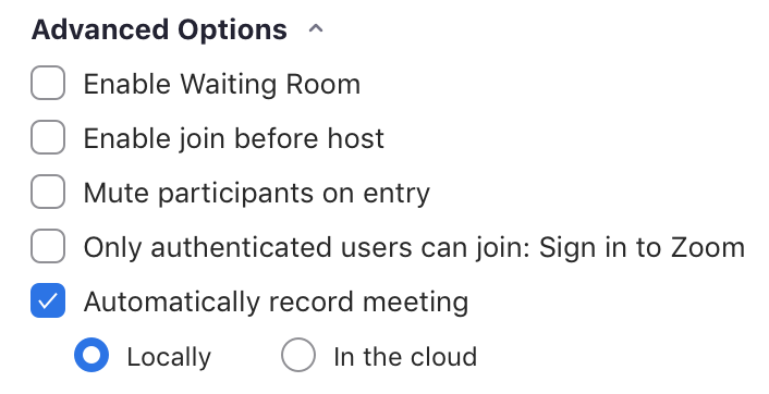 options for when students enter the meeting