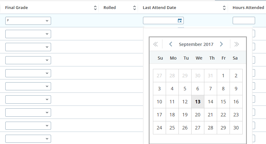 Last attended date field example.