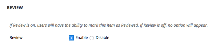 review options