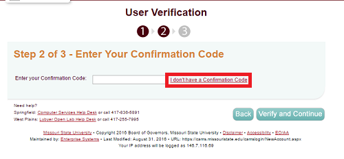 "User Verification Code section in CAMS website with ""I don't have a verification code"" highlighted."