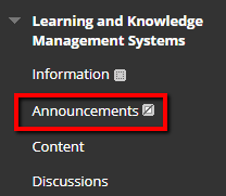 Adding an Announcement link to the course menu.