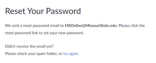 Follow the steps to resetting your password.