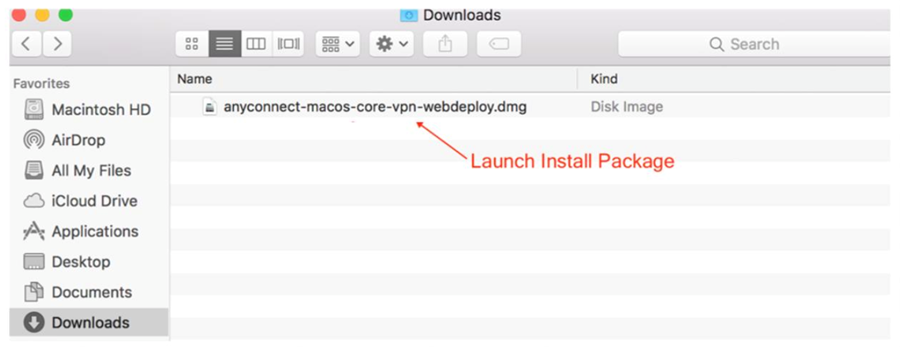 Select the VPN installation package from downloads.