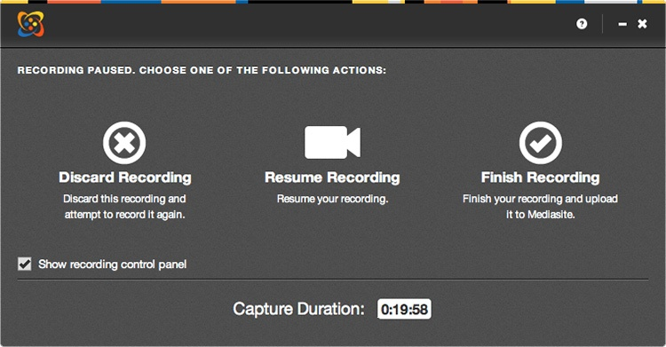 Recording paused page with discard, resume, and finish recording options