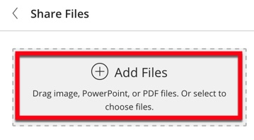 """Drag and drop your file from you computer or click """"add files"""" to browse for the file."""
