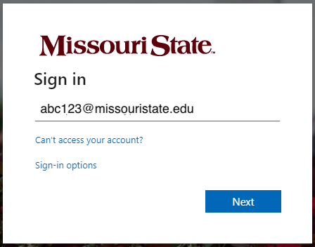 MSU Office 365 sign-in prompt