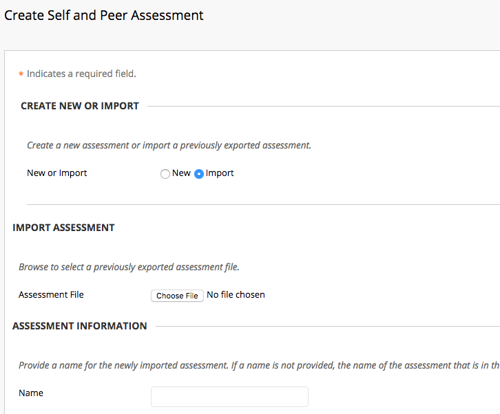 From the Self and Peer Assessmnet options select import.