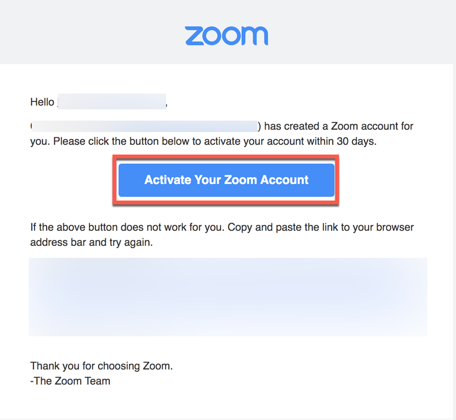 Activate Zoom Email