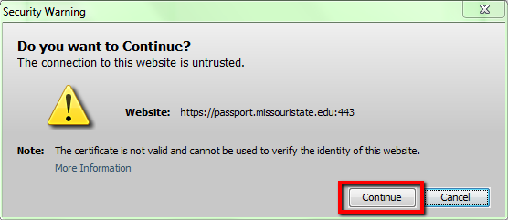 Security warning needing verification to continue connecting.