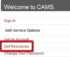 """CAMS website with """"Get Resources"""" highlighted."""