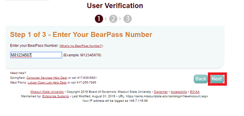 "Enter Bearpass Number field of CAMS website with ""next"" highlighted."
