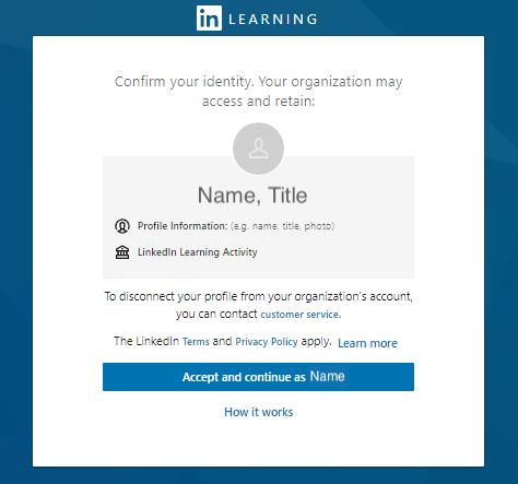 LinkedIn Profile confirmation page