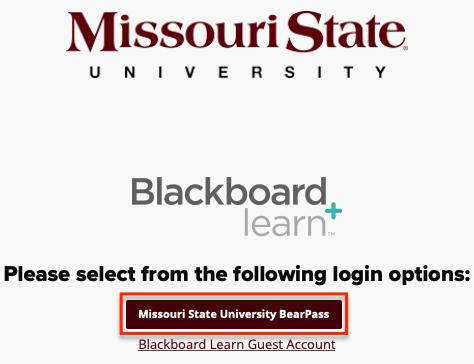 Missouri State University BearPass login screen