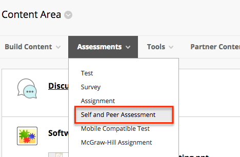 From the action for Assessments click the down arrow and select Self and Peer Assessments from the list.