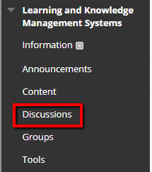 Create a link to Discussion in the Course Menu.