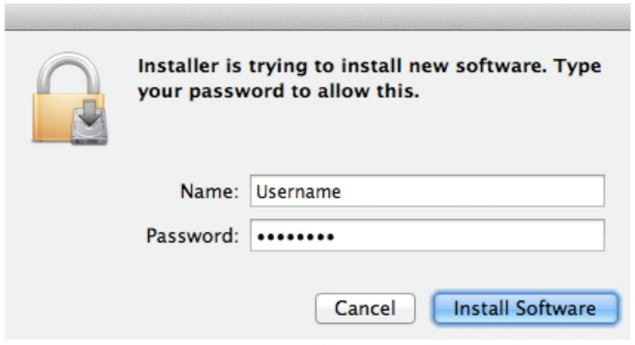 Enter your computer login credentials and select install software.