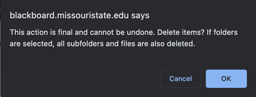 Blackboard pop-up message asking you to confirm the delete action.