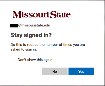 Stay Signed In option on the MFA site.