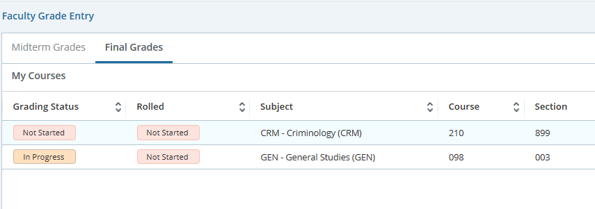 Select the appropriate course to begin grading.