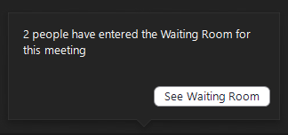 notificating showing students have entered the waiting room
