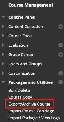 Course management menu highlighting the Export/Archive course link