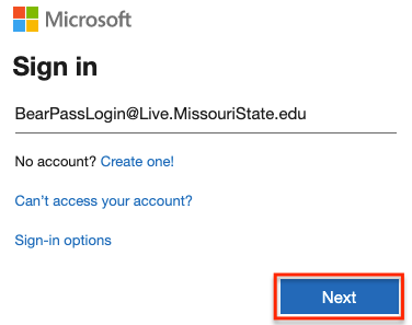 Office 365 sign in page with @Live.MissouriState.edu username