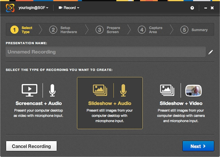Select type of recording page