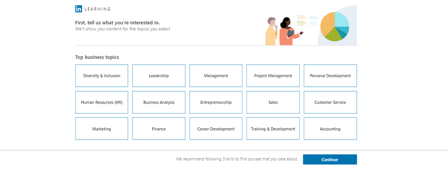 LinkedIn Learning interest selection page
