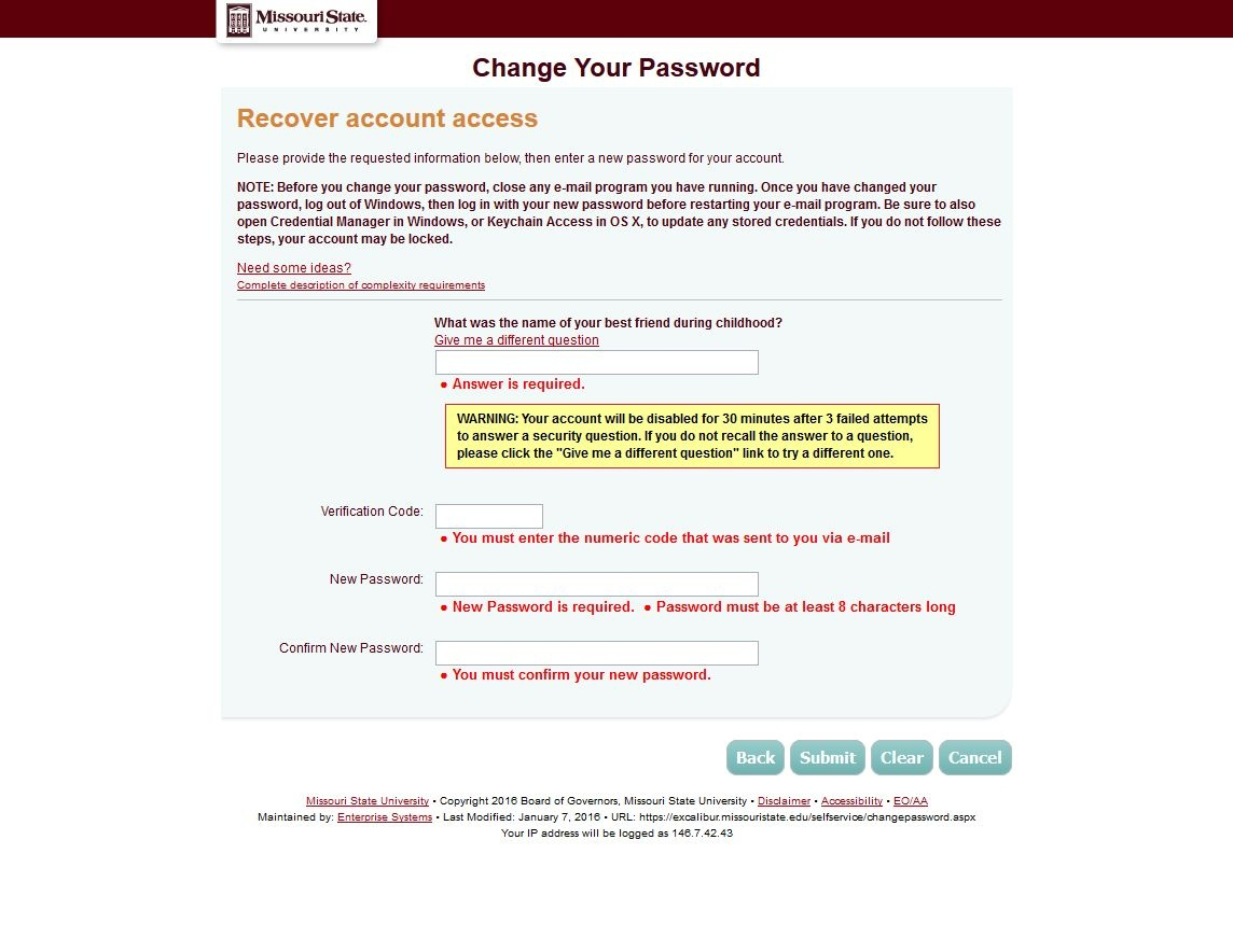 Screenshot of the recover account access page.