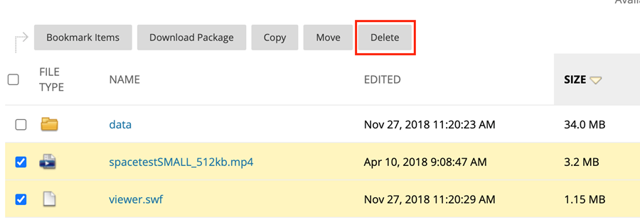 Selected video files with the Delete button highlighted at the top of the page.